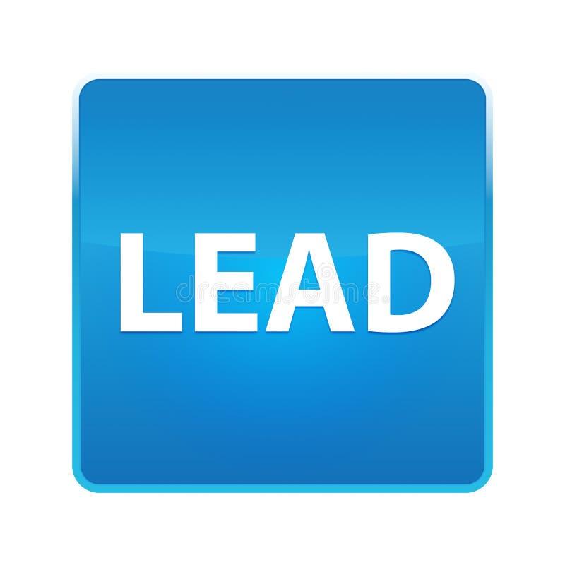 Glänzender blauer quadratischer Knopf der Führung stock abbildung