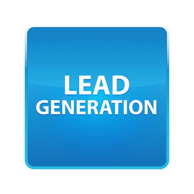 Glänzender blauer quadratischer Knopf der Führungs-Generation lizenzfreie abbildung