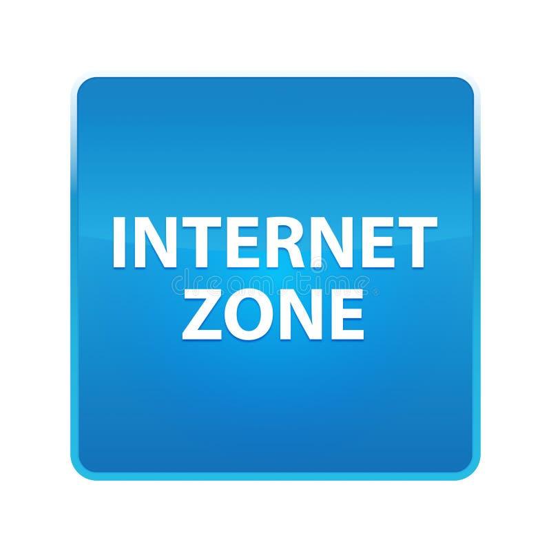 Glänzender blauer quadratischer Knopf der Internet-Zone vektor abbildung