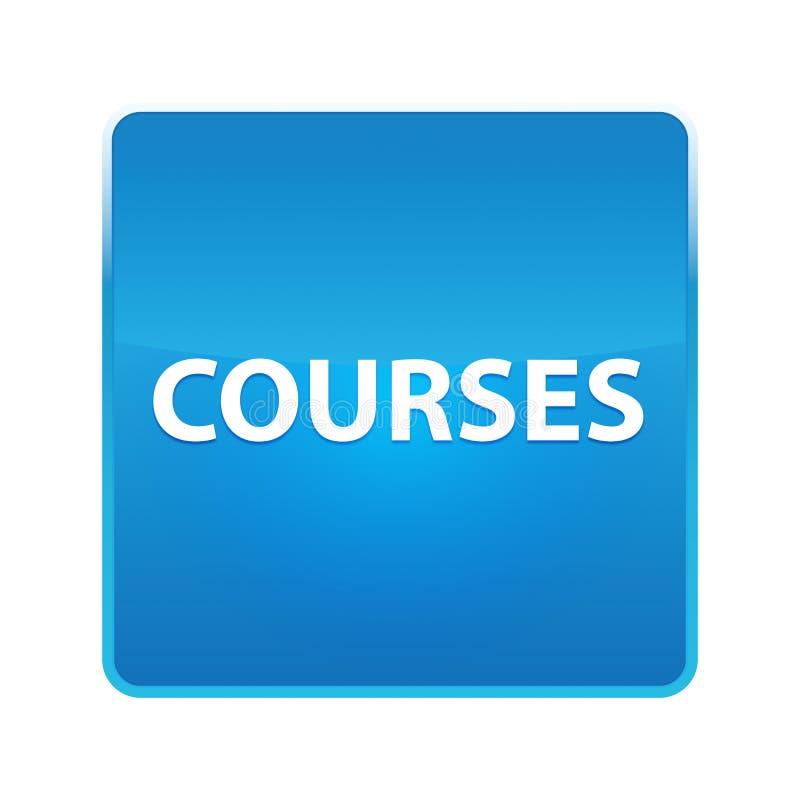 Glänzender blauer quadratischer Knopf der Kurse vektor abbildung