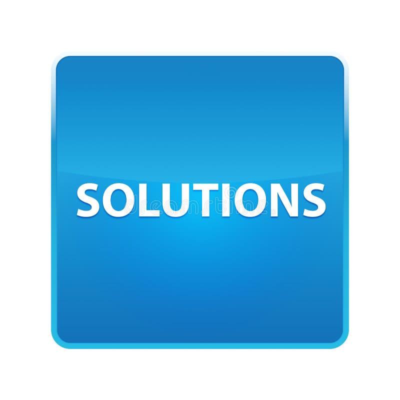 Glänzender blauer quadratischer Knopf der Lösungen vektor abbildung