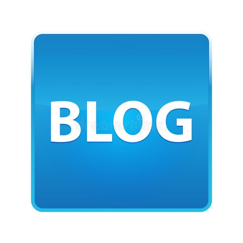 Glänzender blauer quadratischer Knopf des Blogs stock abbildung