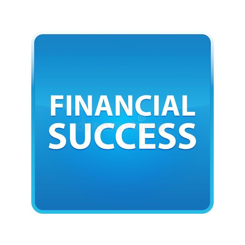 Glänzender blauer quadratischer Knopf des Finanzerfolgs stock abbildung