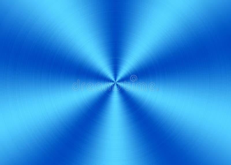 Glänzender blauer Radialstrahl bürstete Metalloberfläche für abstrakten Hintergrund lizenzfreie stockfotografie