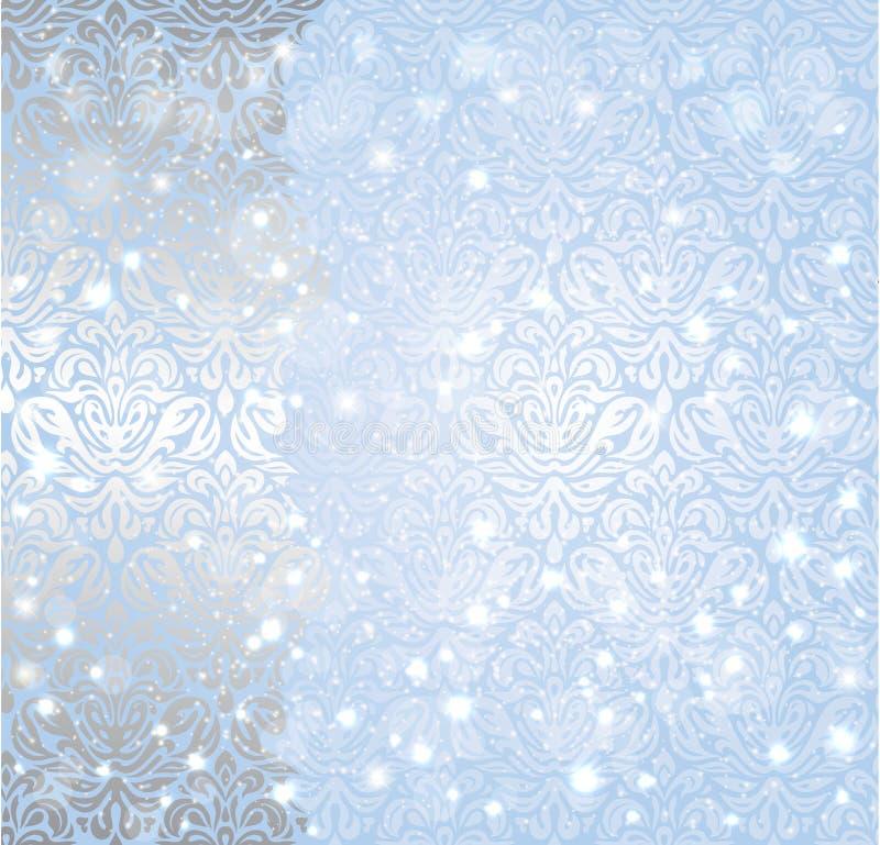Glänzender blauer Weihnachtswinter Schneeflocken-Weinlesehintergrund stock abbildung