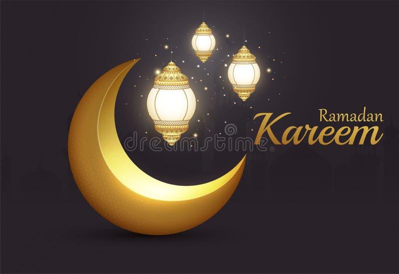 Glänzender goldener Halbmond Ramadan Kareem Islamics mit glühenden Laternen lizenzfreie abbildung