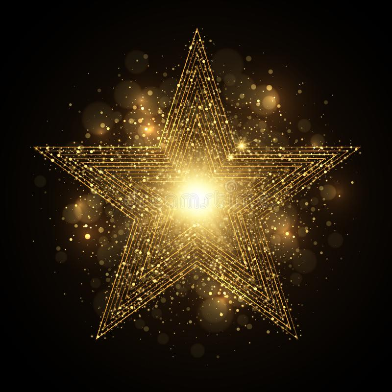 Glänzender goldener Stern mit Scheinen lizenzfreie abbildung