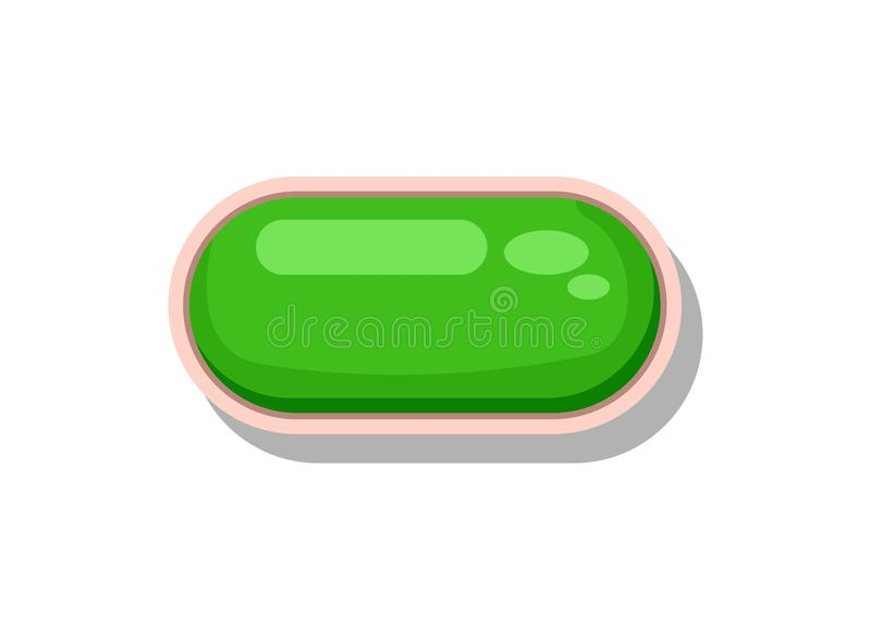 Glänzender grüner Knopf für Spielmenüoberfläche stock abbildung