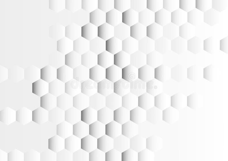 Glänzender Gradated Grey Hexagons Texture Background lizenzfreie abbildung
