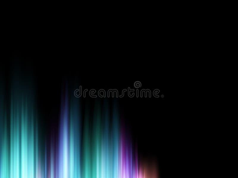Glänzender Hintergrund des abstrakten Vektors mit bunter Schallwelle des Glühens aurora lizenzfreie abbildung