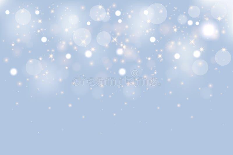 Glänzender Hintergrund des Winters Weihnachts Weiße Schneeflocken des Vektors auf blauem Hintergrund lizenzfreie abbildung