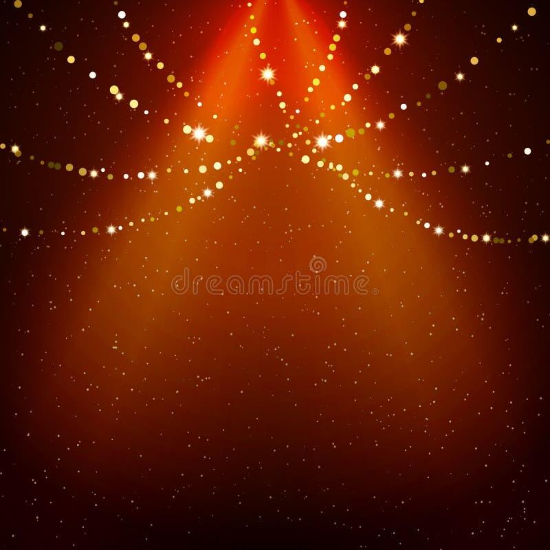 Glänzender Hintergrund mit Lichtern und Scheinwerfer lizenzfreie abbildung