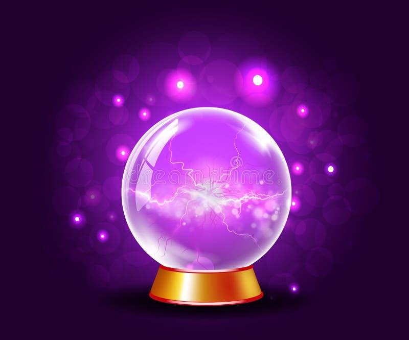 Glänzender Kristall- oder Plasmaball auf funkelndem violettem Hintergrund lizenzfreie abbildung
