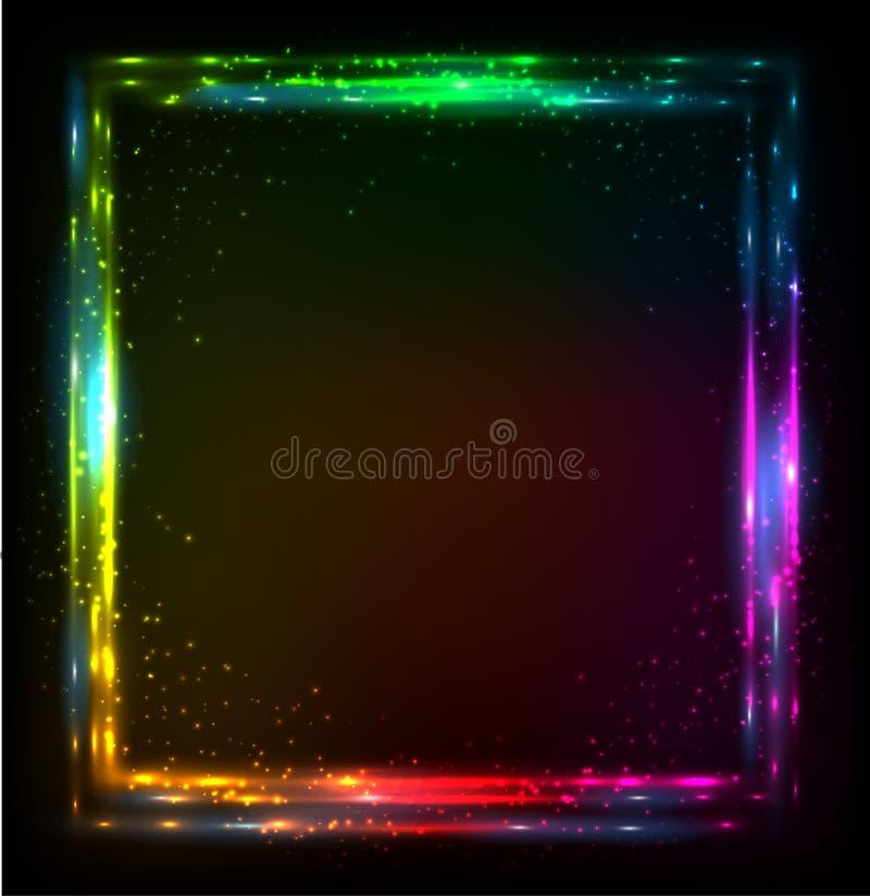 Glänzender Lichtregenbogen färbt Vektorrahmen stock abbildung