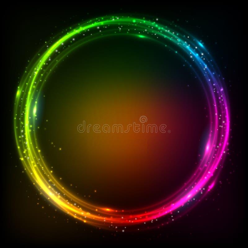 Glänzender Lichtregenbogen färbt Vektorrahmen lizenzfreie abbildung