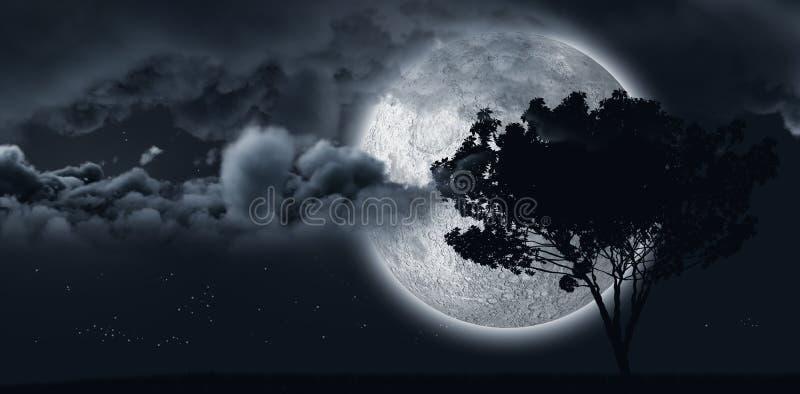 Glänzender Mond versteckt sich durch einen Baum und einige Wolken vektor abbildung