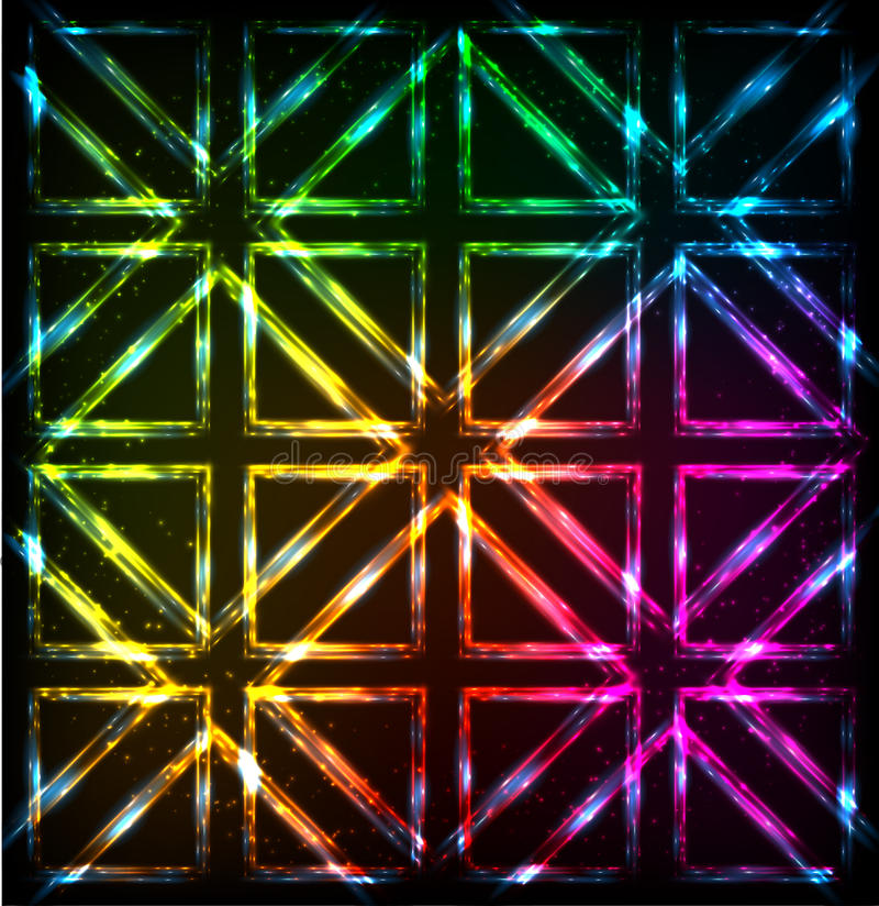 Glänzender Neonlichtregenbogen quadriert Hintergrund lizenzfreie abbildung