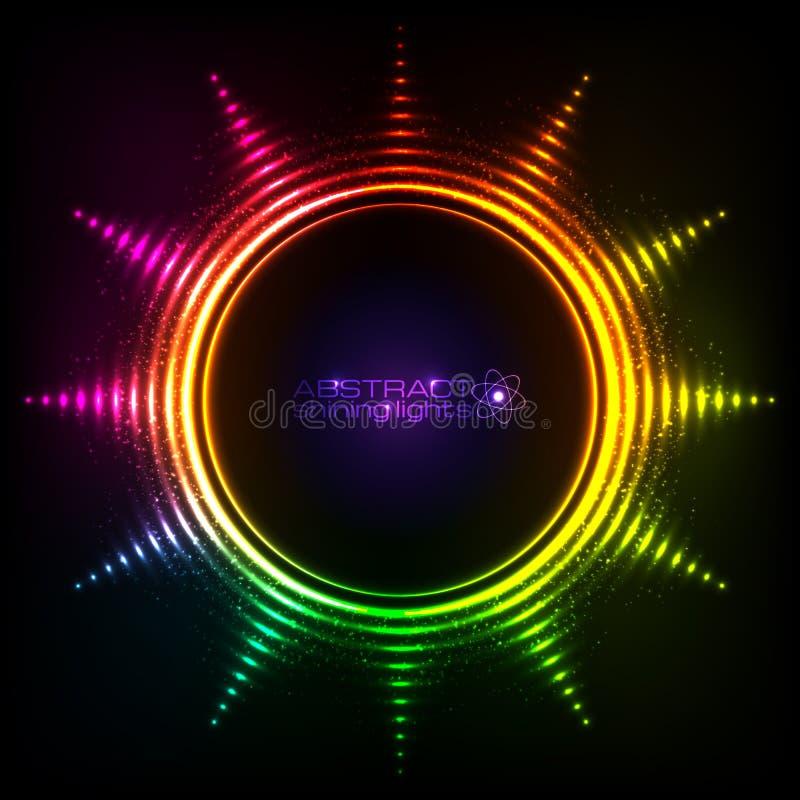 Glänzender Regenbogen beleuchtet abstrakten Sonnenrahmen lizenzfreie abbildung
