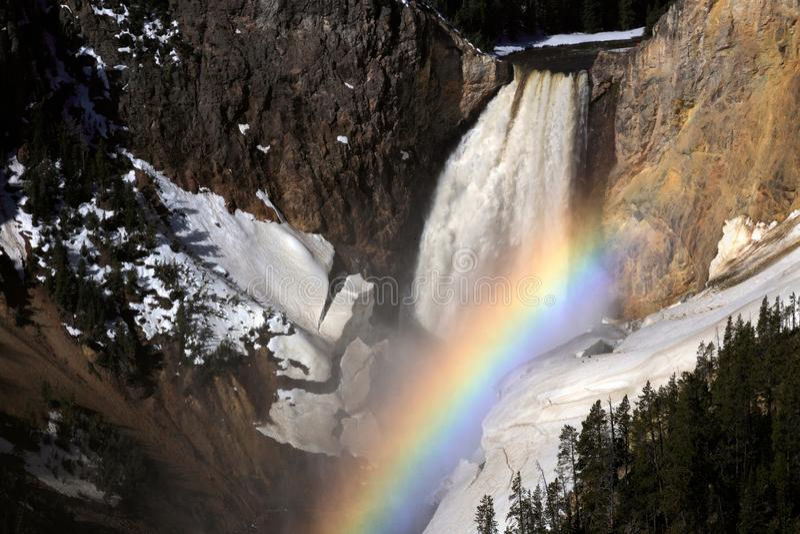 Glänzender Regenbogen am Wasserfall in Yellowstone Nationalpark im Winter lizenzfreies stockbild