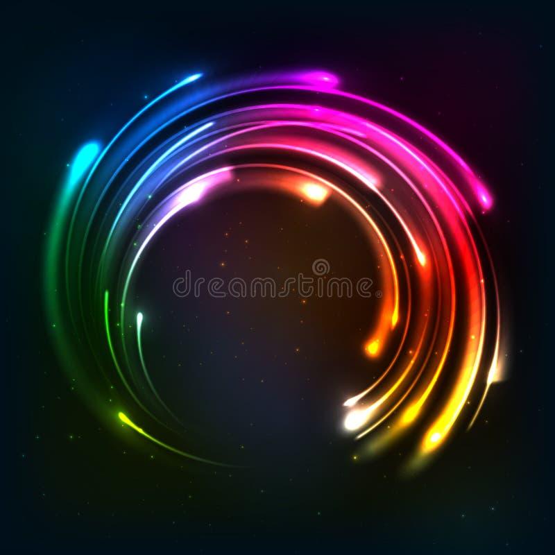 Glänzender Regenbogenneonlicht-Kreisrahmen stock abbildung