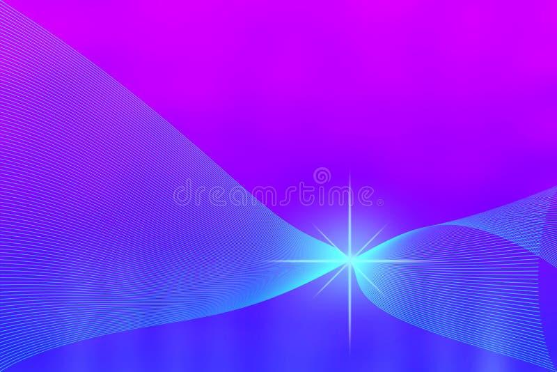 Glänzender Schein und gebogene Masche in unscharfem blauem und purpurrotem Hintergrund stockbild