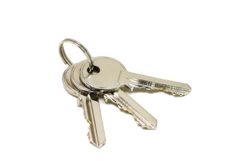 Glänzender Schlüsselbund zu den Türen stockfoto