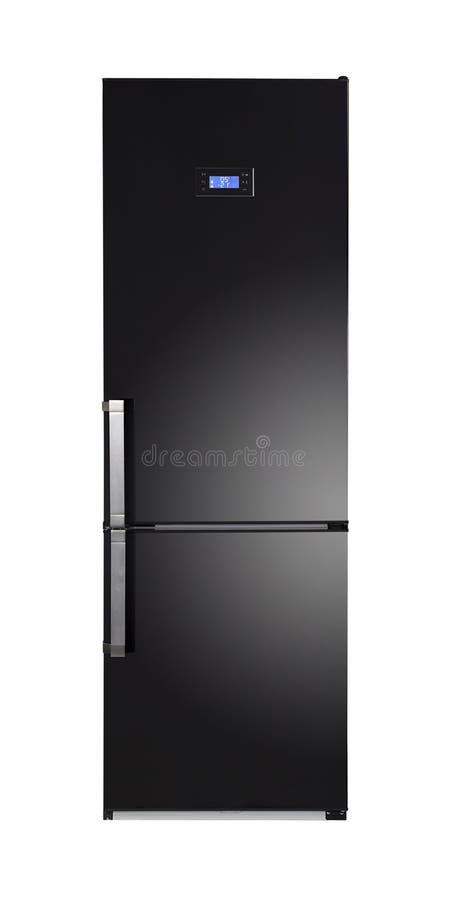 Glänzender Schwarzer Kühlschrank Stockbild - Bild von kalt, kühler ...
