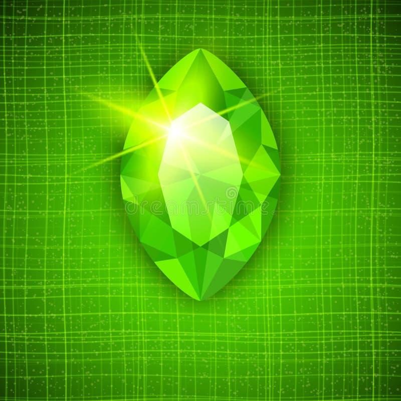 Glänzender Smaragd auf strukturiertem Hintergrund stock abbildung