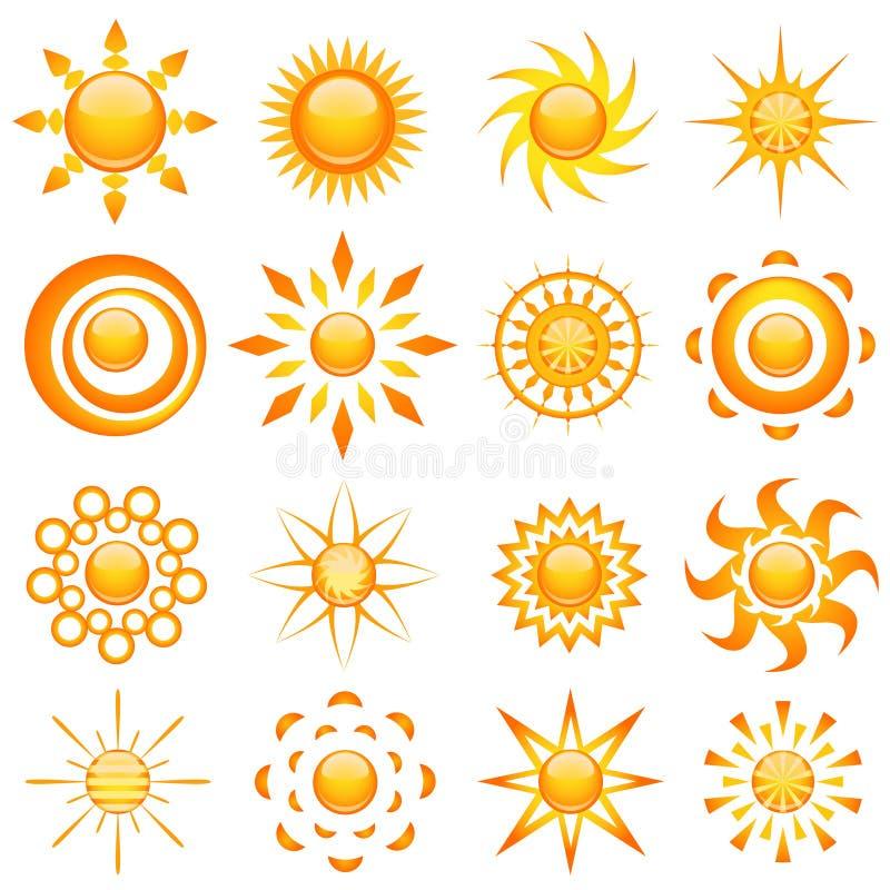 Glänzender Sonnevektor lizenzfreie abbildung