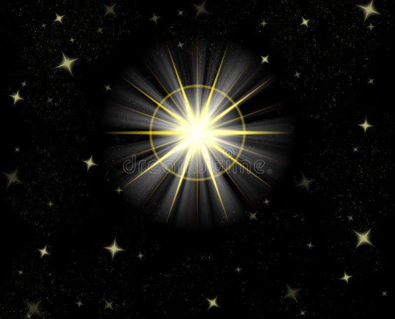 Glänzender Sternaufflackern-nächtlicher Himmel vektor abbildung