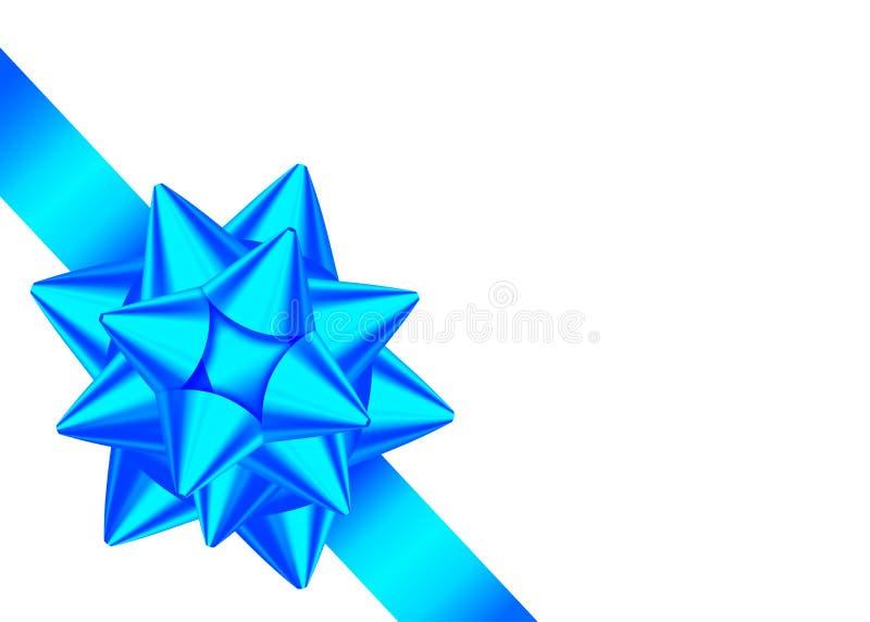 Glänzendes blaues Band und Bogen für Ecke des Seitendekors vektor abbildung