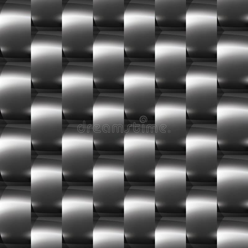 Glänzendes dunkles Stahl (Chrom, Silber) nahtloses Muster stock abbildung