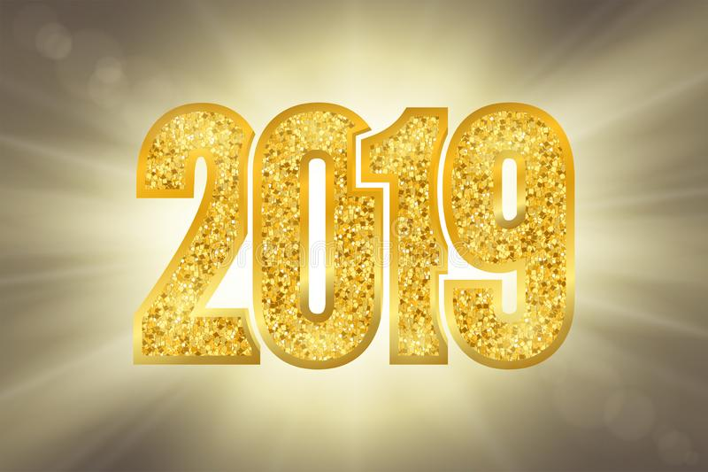 Glänzendes Gold Nr. 2019 des guten Rutsch ins Neue Jahr Goldene Funkelnstellen auf Sonnenstrahlen bokeh Hintergrund Glänzender gl lizenzfreie abbildung