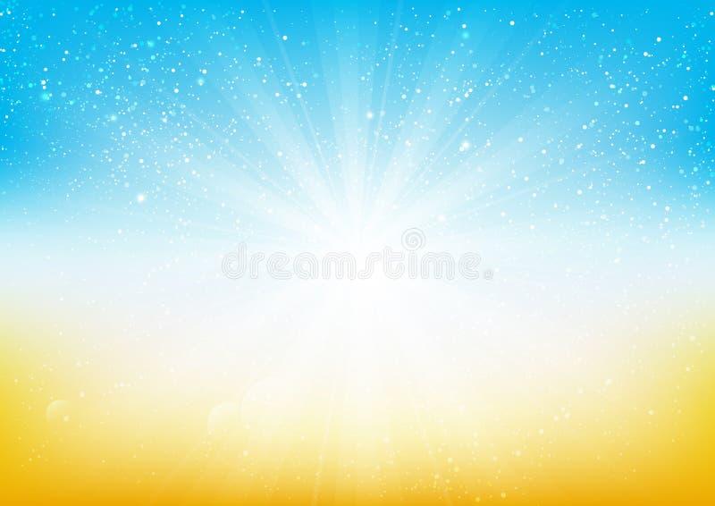Glänzendes Licht auf blauem und orange Hintergrund lizenzfreie abbildung
