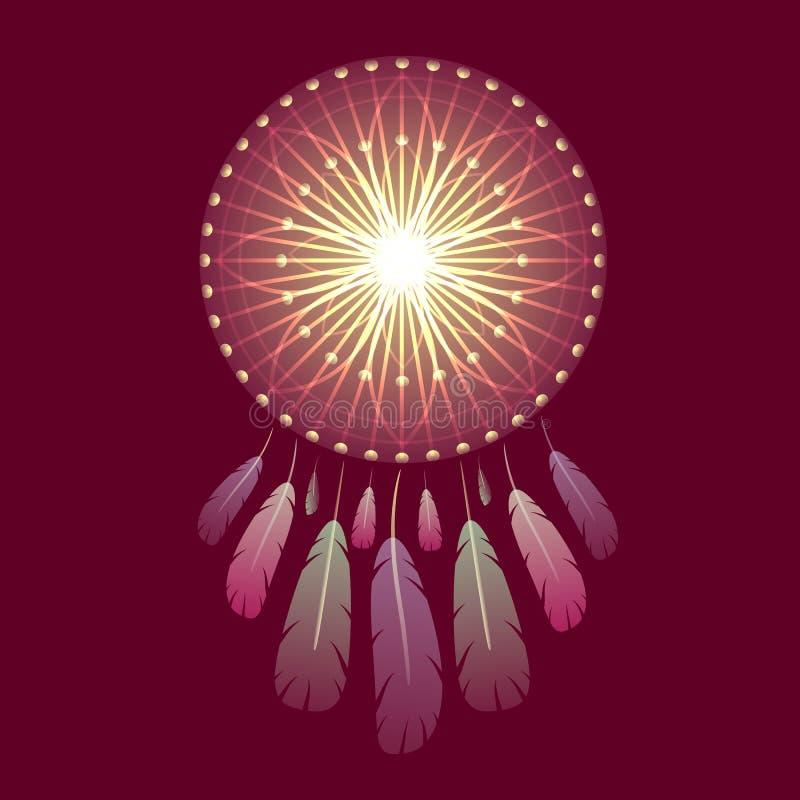 Glänzendes magisches dreamcatcher mit Federn stockbilder