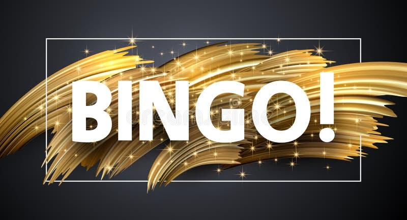 Glänzendes Plakat des Bingo mit goldenen Bürstenanschlägen auf grauem Hintergrund lizenzfreie abbildung