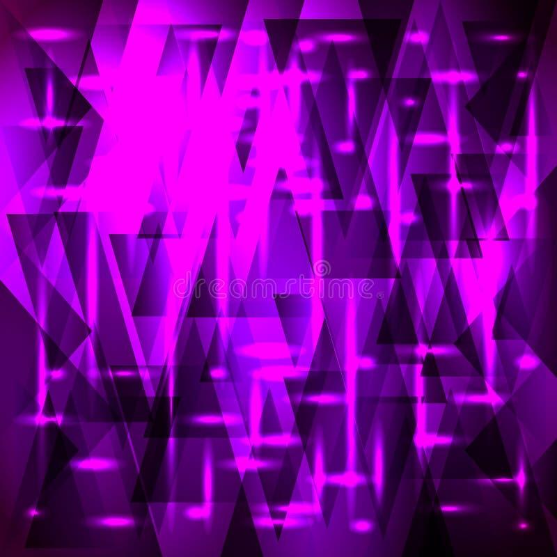 Glänzendes purpurrotes Muster des Vektors von Scherben und von Dreiecken mit Sternen lizenzfreie abbildung