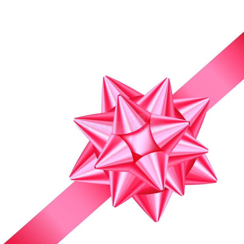 Glänzendes rosa Satingeschenkband und -bogen für Ecke des Seitendekors lizenzfreie abbildung