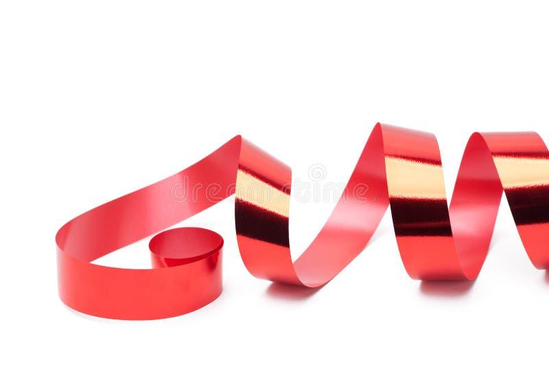 Glänzendes rotes Farbband für die Geschenkverpackung stockbild