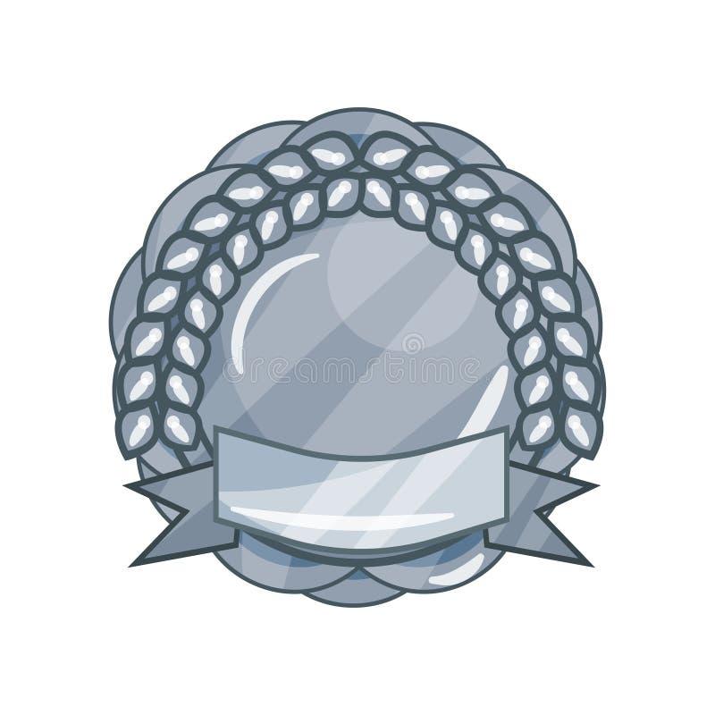 Glänzendes silbernes leeres Militär spricht Medaille oder Ausweis mit Lorbeerkranz und Band in der Kreisform zu vektor abbildung