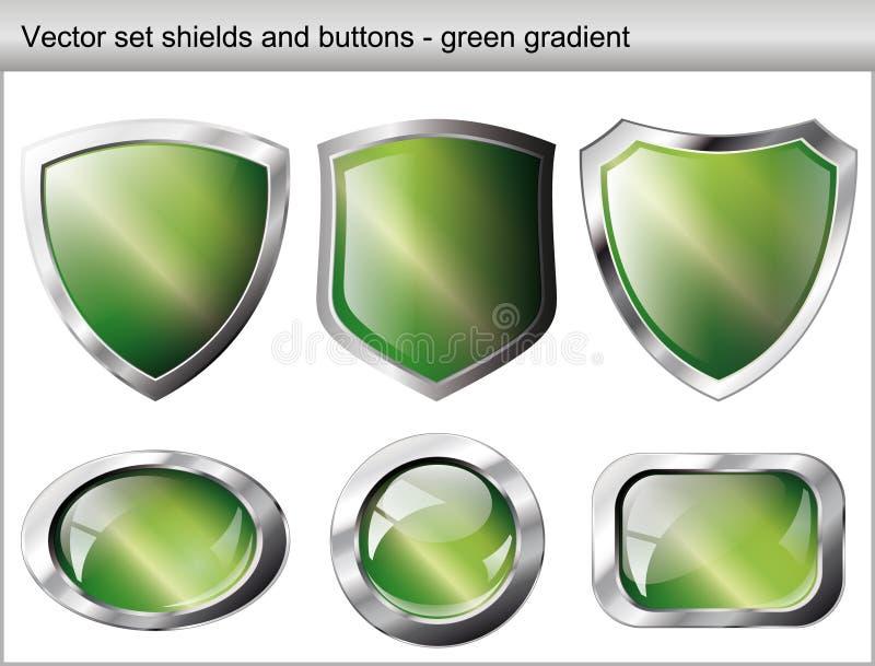 Glänzendes und glattes Schild- und Tastengrün vektor abbildung