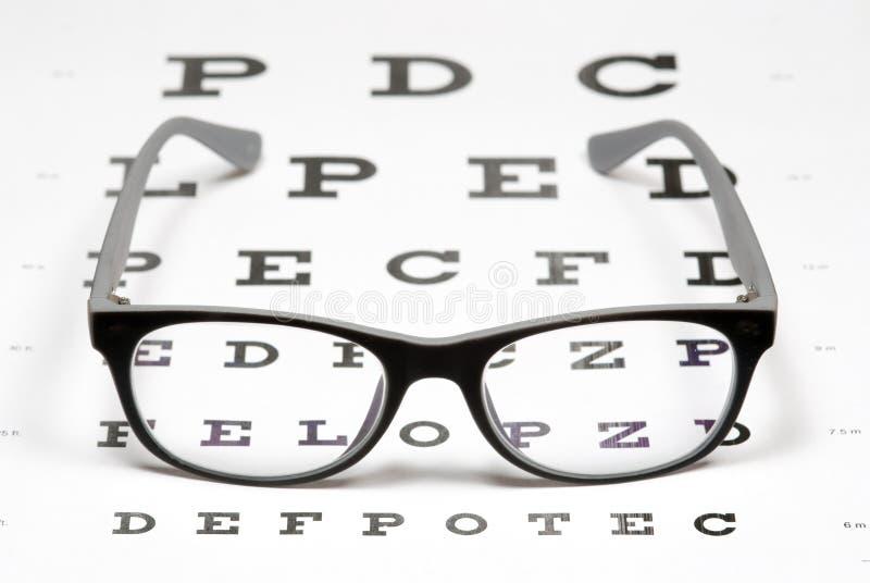 Gläser auf Augendiagramm lizenzfreie stockfotografie