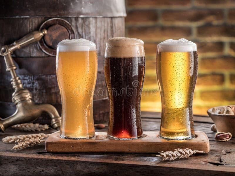 Gläser Bier und Ale rasen auf dem Holztisch Handwerksbrauerei lizenzfreies stockfoto