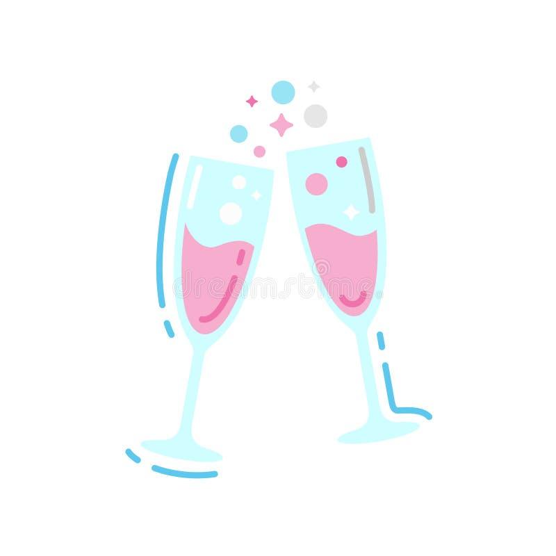 Gläser der flachen Ikone des Champagners Farb Feier des festlichen Ereignisses vektor abbildung