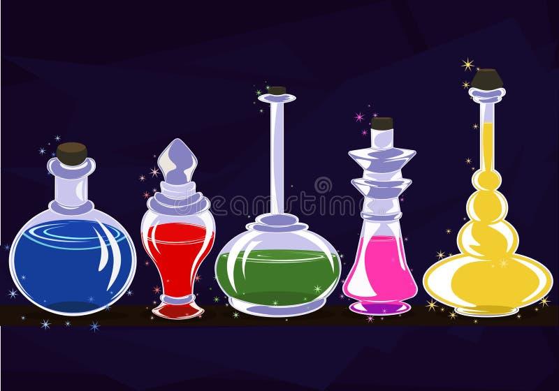 Gläser des Alchemisten mit Zaubertränken im Regal vektor abbildung