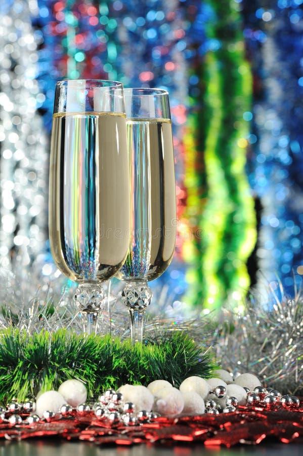 Gläser eines Champagners stockbilder