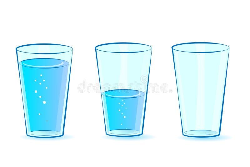 Gläser eingestellt für Wasser Gläser: voll leer, halb-gefüllt mit Wasser Vektor lizenzfreie abbildung