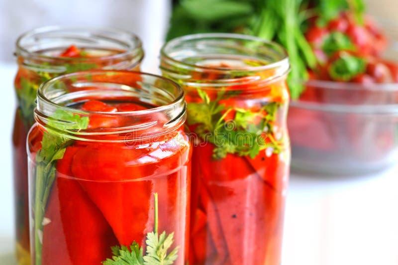 Gläser in Essig eingelegtes Gemüse stockfotografie
