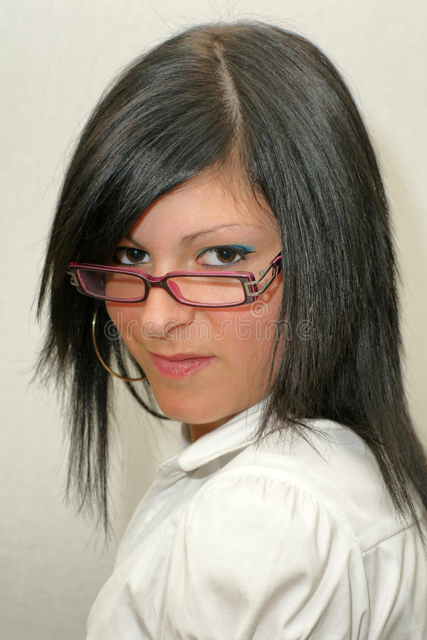 Gläser Eyewear-Geschäftsfrauporträt stockbild