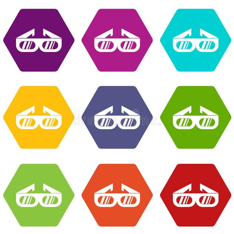 Gläser für gesetztes hexahedron Farbe der Ikone des Films 3D vektor abbildung